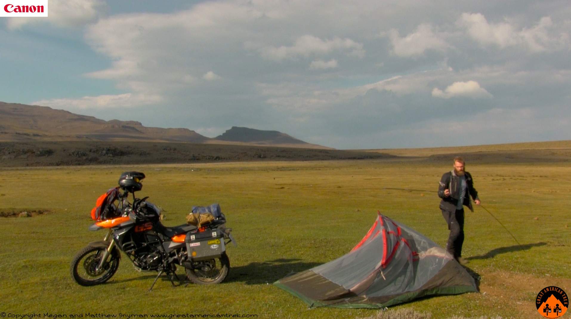 BMW F800GS adventure motorcycle motorbike travel tent wind & Lesotho: Himeville to Sani Pass. Great American Trek