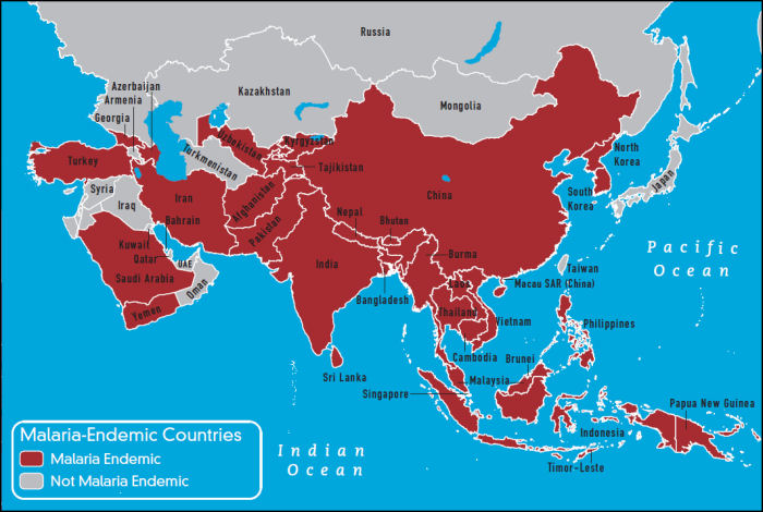South east asia, malaria, distribution